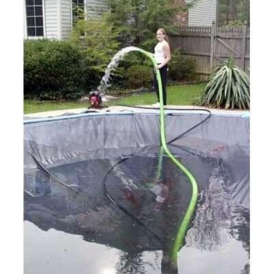 откачка воды из декоративного пруда на осень с помощью помпы s2c www.gidrotec.com.ua
