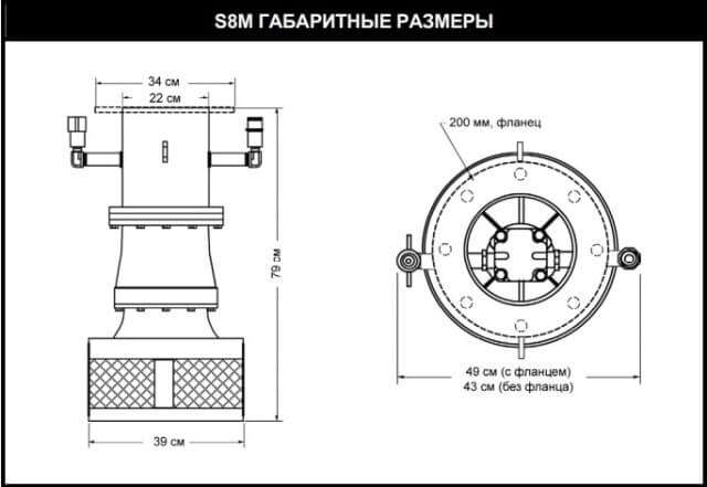 Габаритные размеры гидравлического насоса S8M | www.gidrotec.com.ua